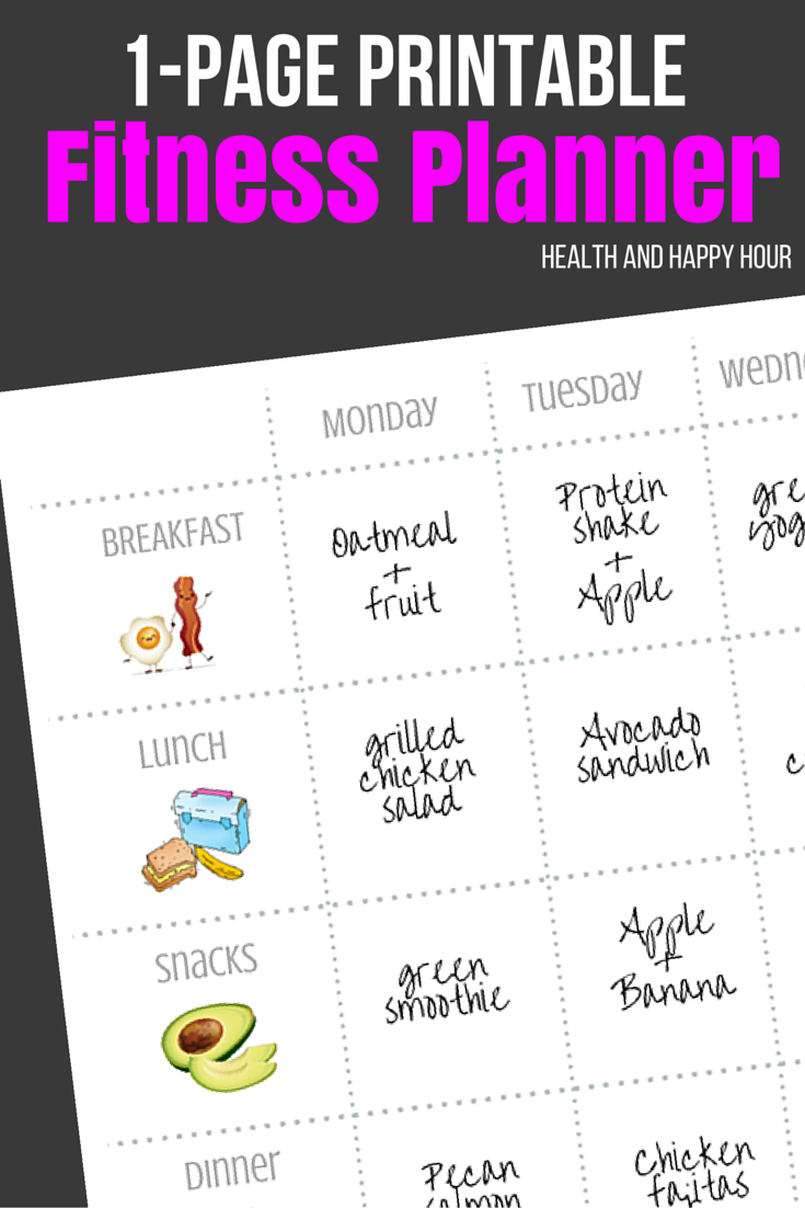 free 1 page printable fitness planner health and happy hour
