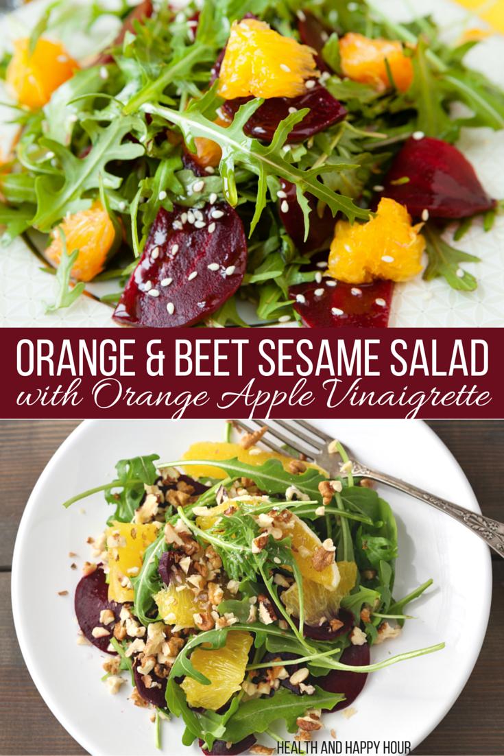 Orange & Beet Sesame Salad with Orange Apple Vinaigrette Dressing | Health and Happy Hour